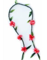 Custom ribbon Ti leaf lei