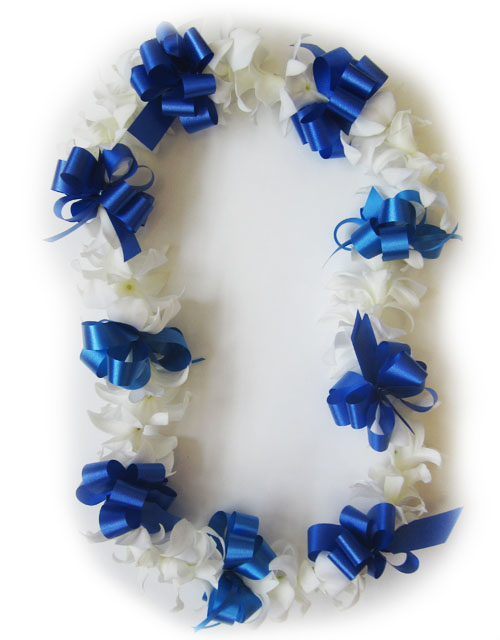 custom ribbon white orchid lei