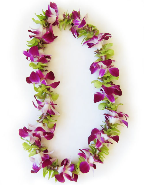 single strand purple and green orchid lei