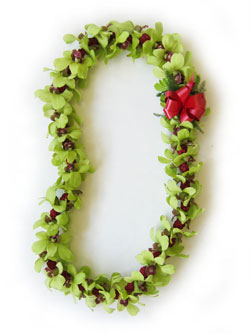 Green Orchid and He'e Berry - Christmas Lei