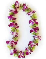 Single Strand Purple and Green Orchid Lei - Hawaiian Flower Lei