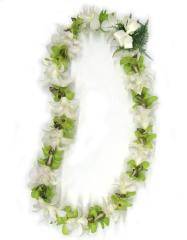 single Strand Green and White Orchid Lei - Hawaiin Flower Leis