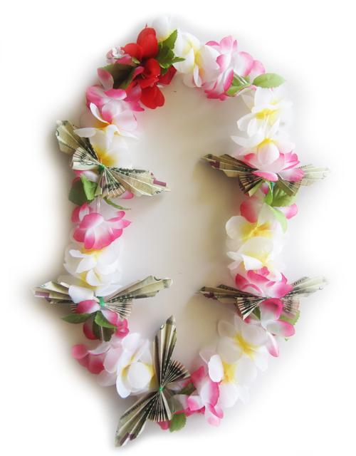 50 silk flower butterfly money lei